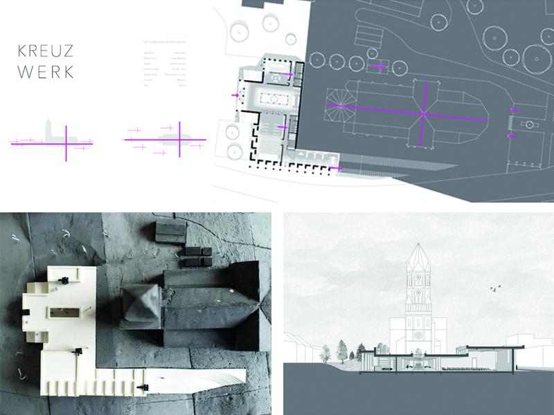 Modell und Pläne der Studierenden Antonia Jansen und Maximilian Gerhards